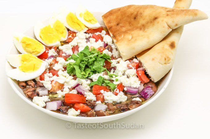 Ful medames Sudanese fava beans salad recipe, sahan ful. Sudanese ful, Egyptian Fava Beans, South Sudan food, ful masri, African food