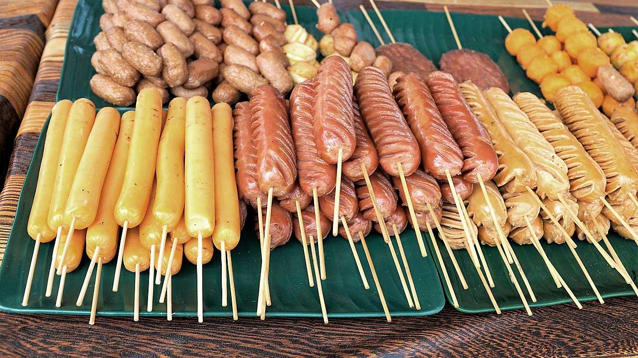 Deep Fried Thai Food on Sticks