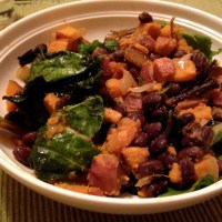 Sweet Potato, Black Bean and Rainbow Chard Hash