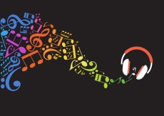 Concept music. Music background with headphones and musical note