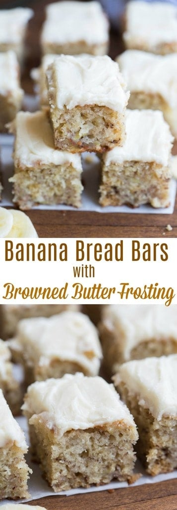 These delicious, soft, moist banana bread bars may be my favorite way to use ripe bananas! | tastesbetterfromscratch.com