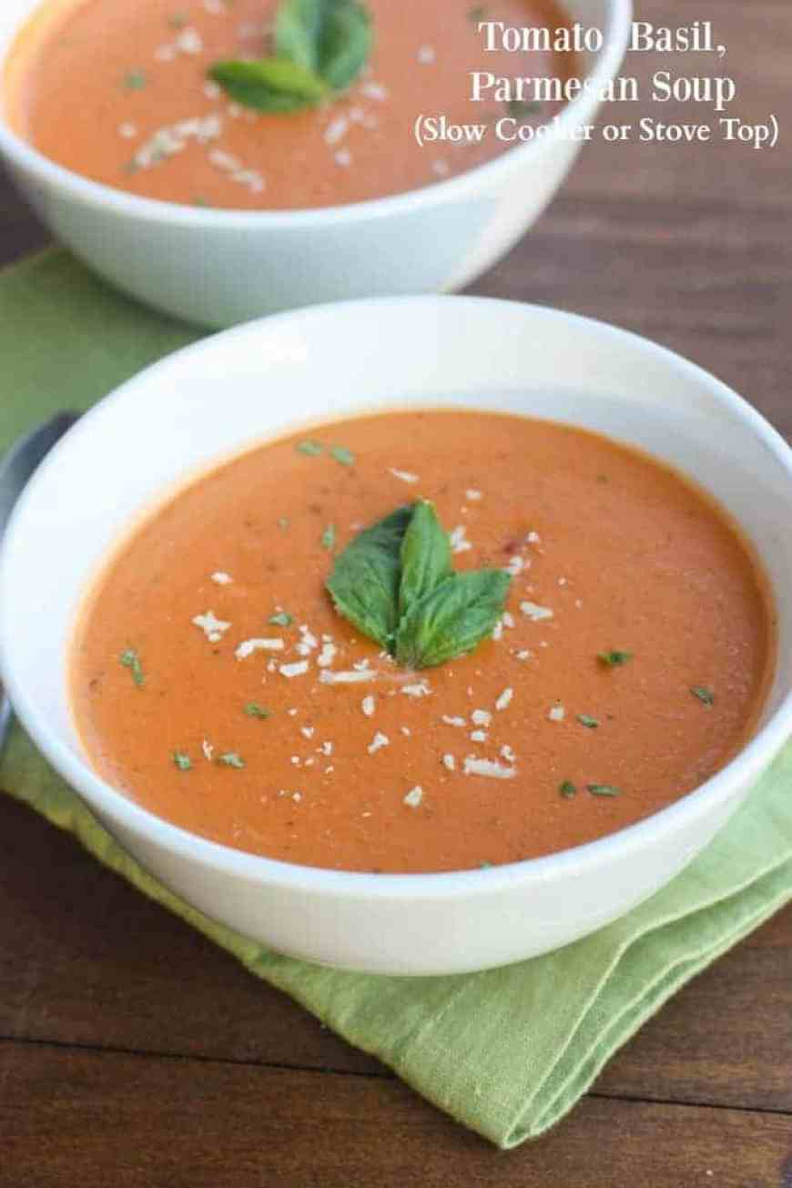 The BEST Creamy Tomato Basil Parmesan Soup you can make in the Slow Cooker OR on the Stove top! | Tastes Better From Scratch