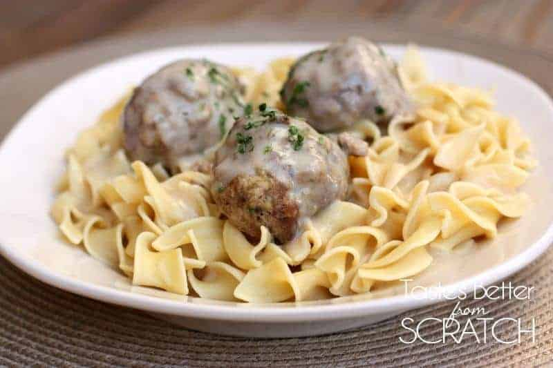 Swedish Meatballs recipe from TastesBetterFromScratch.com