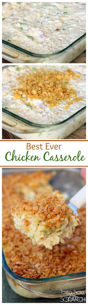 This Chicken Casserole is my husband's all time favorite meal! Recipe from