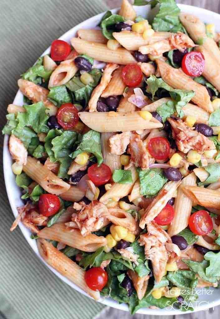 BBQ Chicken Pasta Salad recipe on TastesBetterFromScratch.com