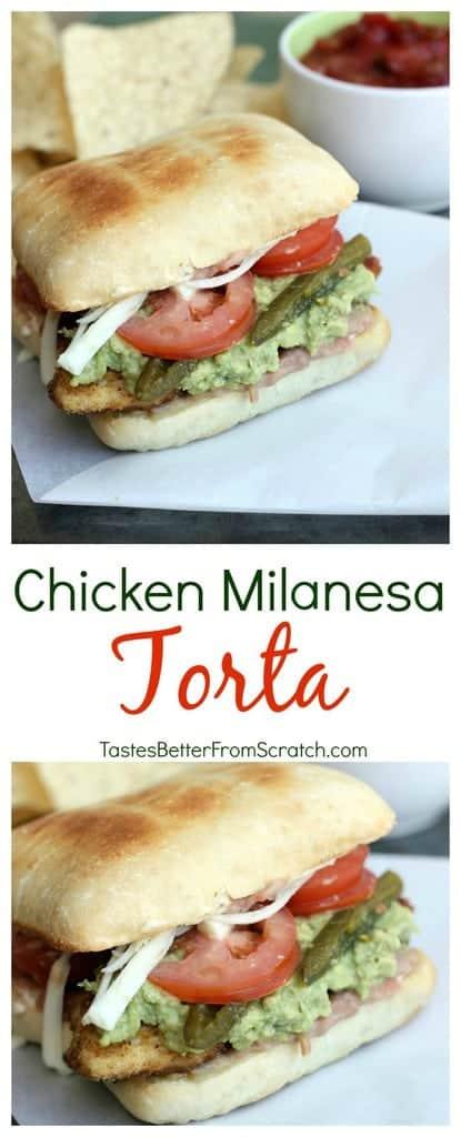 Chicken Milanesa Torta recipe on TastesBetterFromScratch.com