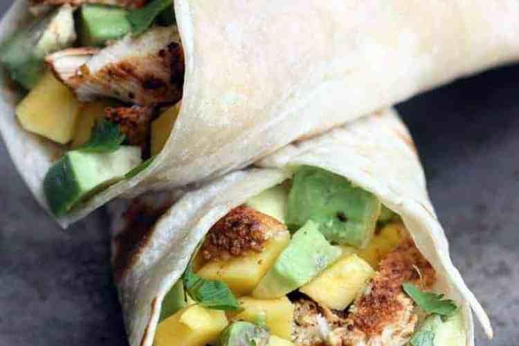 Chili Lime Chicken Wraps with Mango Avocado Salsa