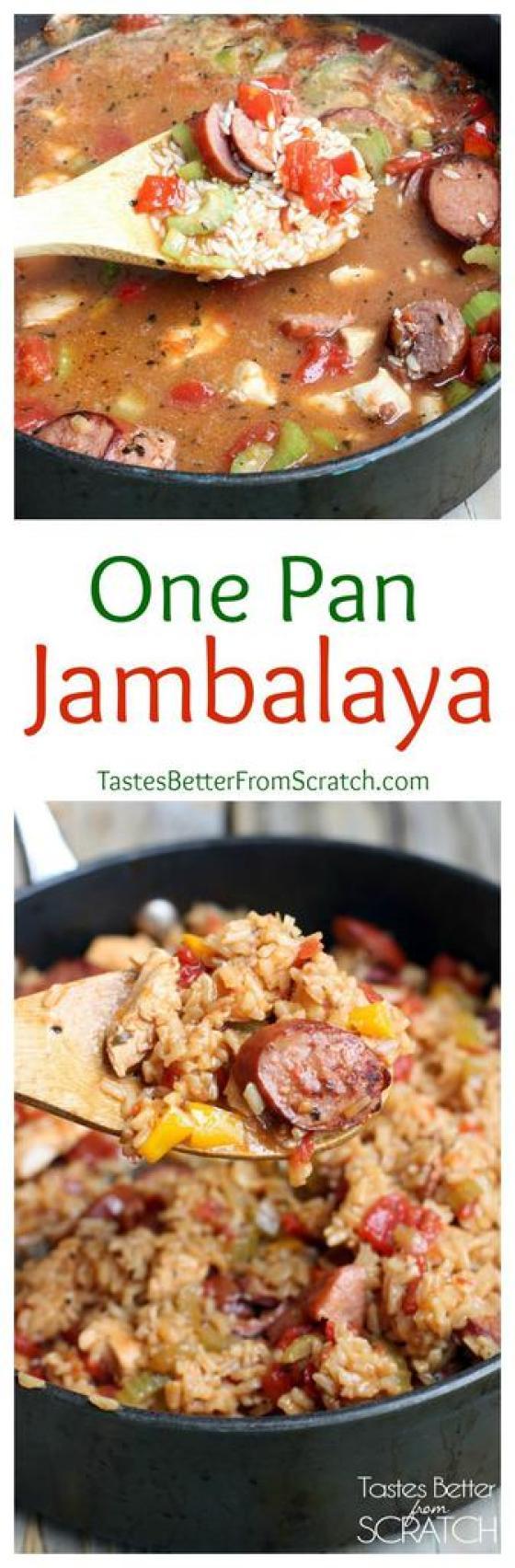 One Pan Chicken and Sausage Jambalaya recipe on TastesBetterFromScratch.com