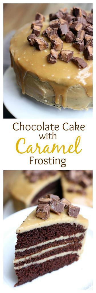 Chocolate Cake with Caramel Frosting on TastesBetterFromScratch.com