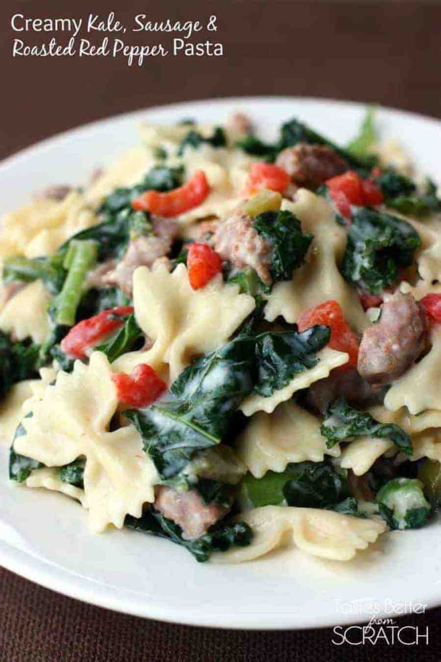 Creamy Kale, Sausage and Roasted Red Pepper Pasta from TastesBetterFromScratch.com