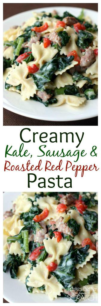 Creamy Pasta dish with kale, roasted red peppers and sautéd sausages. Recipe from TastesBetterFromScratch.com