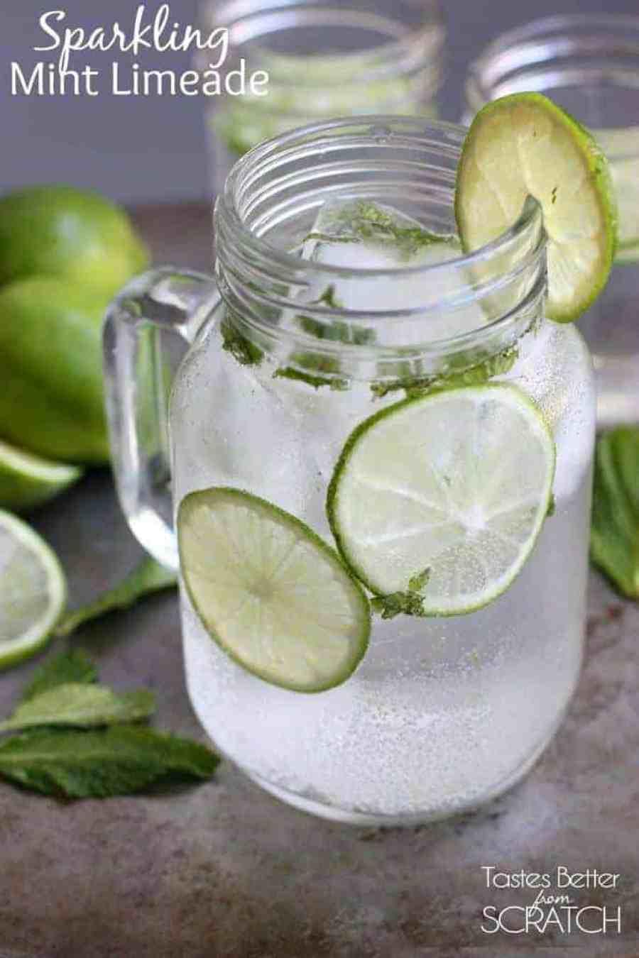 Sparkling Mint Limeade recipe from TastesBetterFromScratch.com