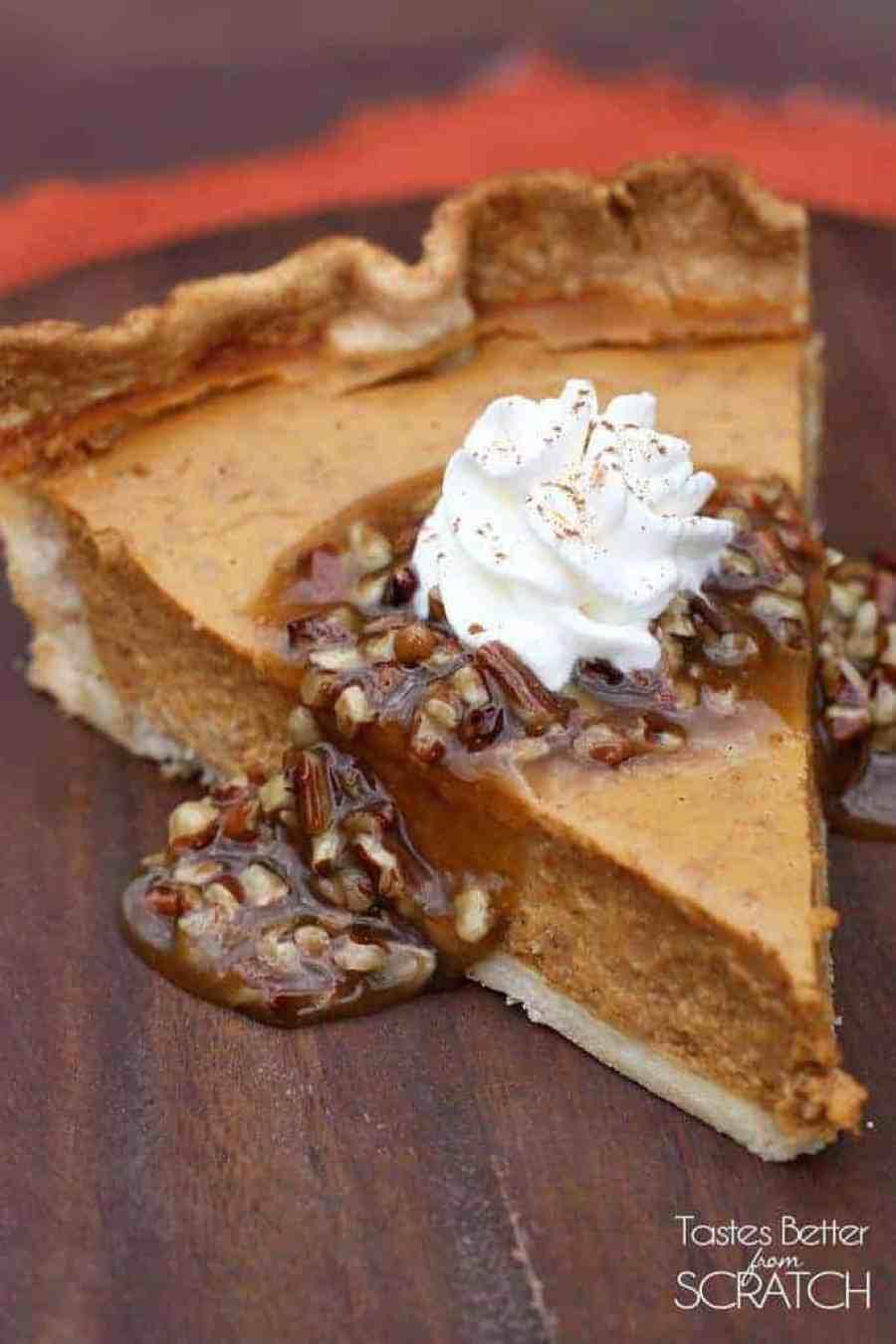 Pumpkin Pie with Caramel Pecan Topping | Tastes Better From Scratch
