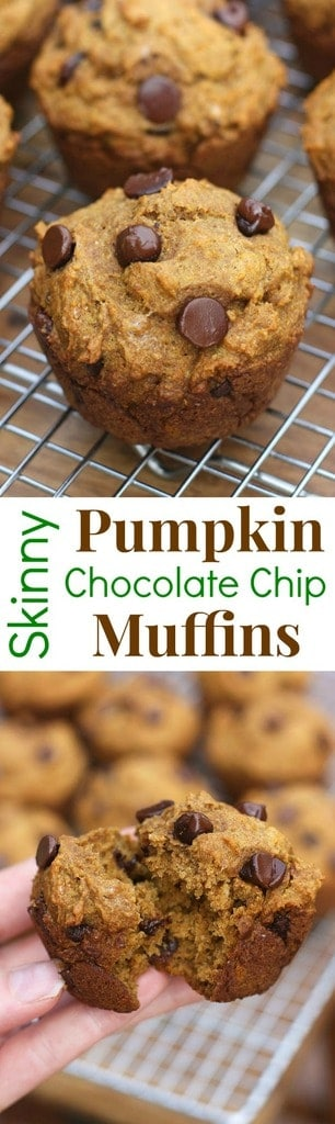 Skinny Pumpkin Chocolate Chip Muffins | - Tastes Better From Scratch