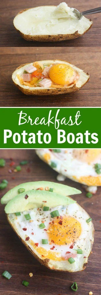 Breakfast Potato Boats with Canadian bacon, peppers, cheese and a baked egg. | Tastes Better From Scratch