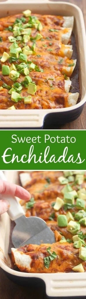 Sweet Potato and Black Bean Enchiladas - an easy, healthy dinner your whole family will love! | Tastes Better From Scratch