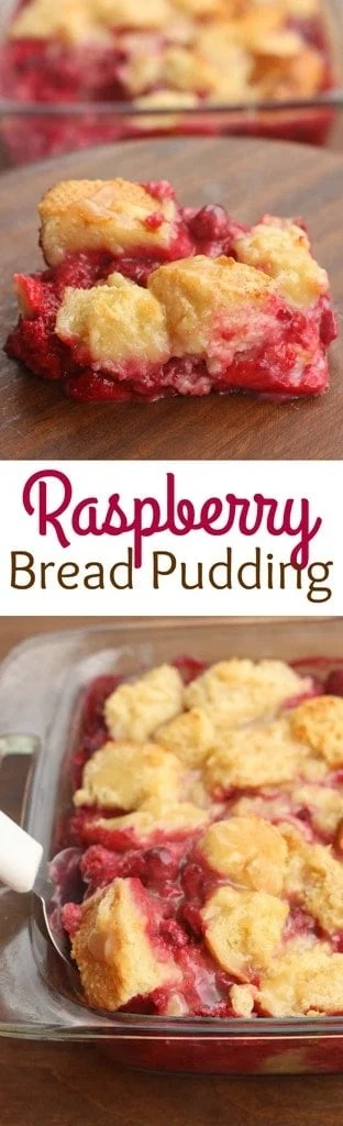 Raspberry Bread Pudding with vanilla cream sauce - a delicious, easy dessert that everyone always raves about! | Tastes Better From Scratch
