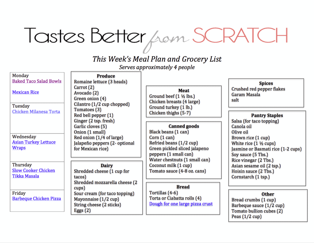 Weekly Meal Plan 15 And Printable Shopping List