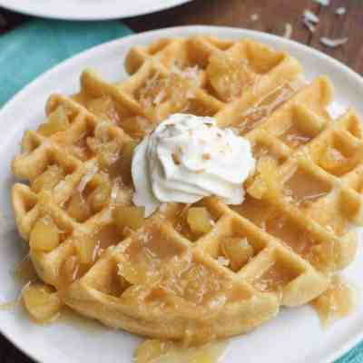 Coconut Cream Waffles with Pineapple Coconut Syrup