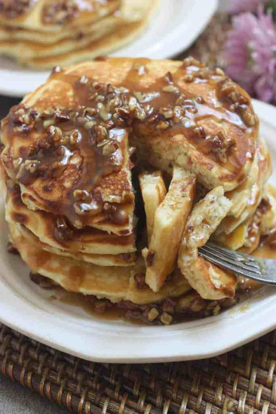 Maple Bacon Pancakes with Pecan Praline Topping   Tastes Better From Scratch