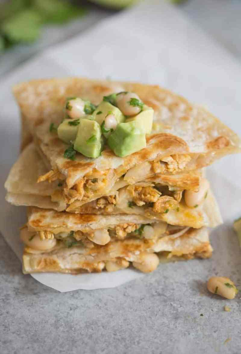Taco Chicken Quesadillas with white bean salsa | Tastes Better From Scratch