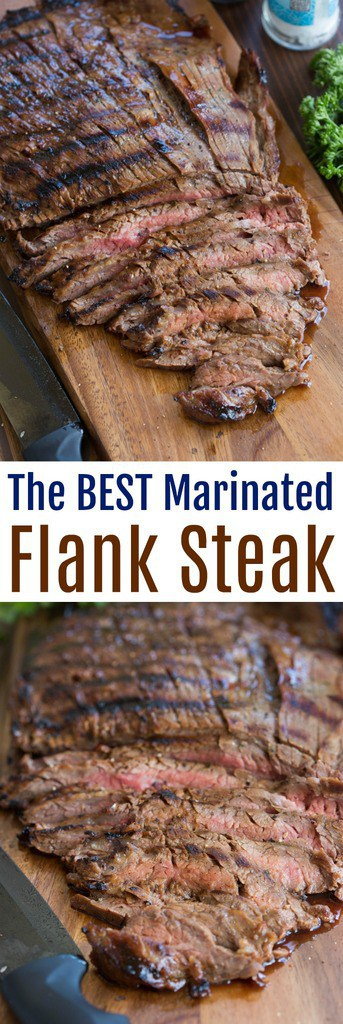 This flank steak is my favorite steak recipe of all time! Grilled marinated flank steak with the BEST flavor. Just 5 simple ingredients. It couldn't be easier and is always a huge hit.