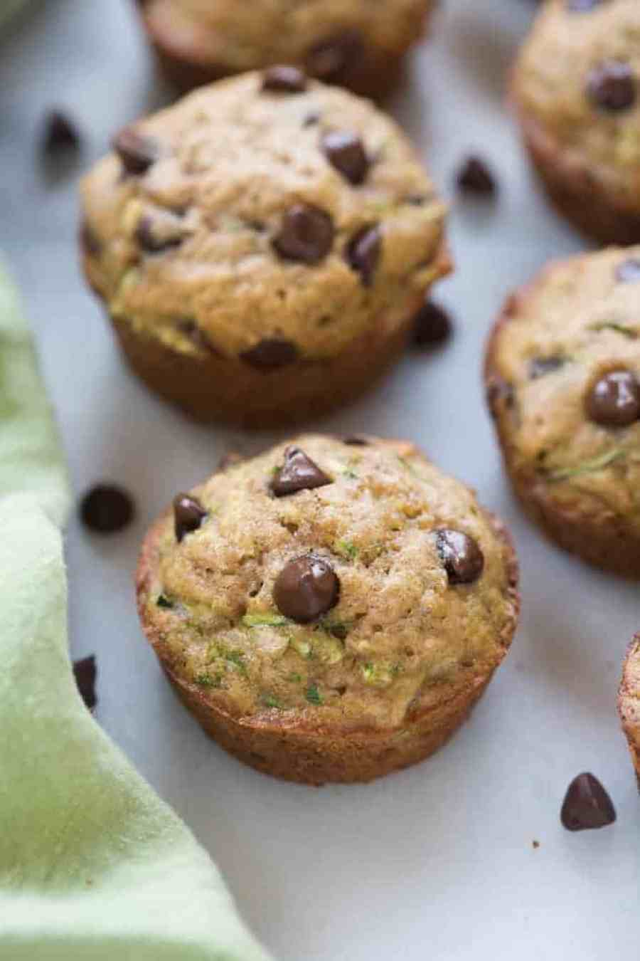 The BEST chocolate chip zucchini muffins! They're so easy and made with whole grains. My family loves these. | tastesbetterfromscratch.com