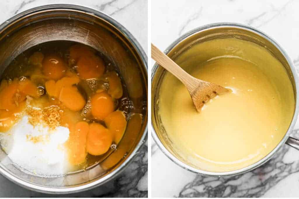 Egg yolks, sugar, lemon juice and zest in a bowl, then cooked over a bowl of simmering water.