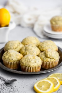 lemon poppy seed muffins on a tray