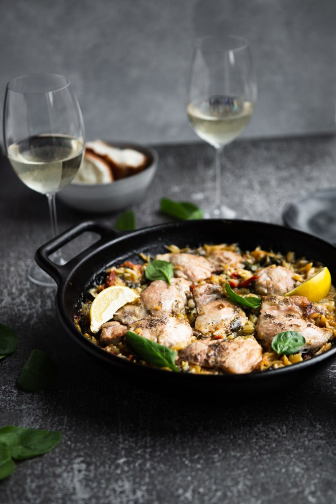 White wine braised chicken and orzo with sun-dried tomatoes