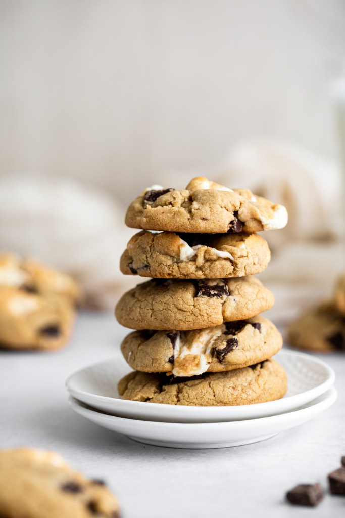 stack of s'more cookies on a plate