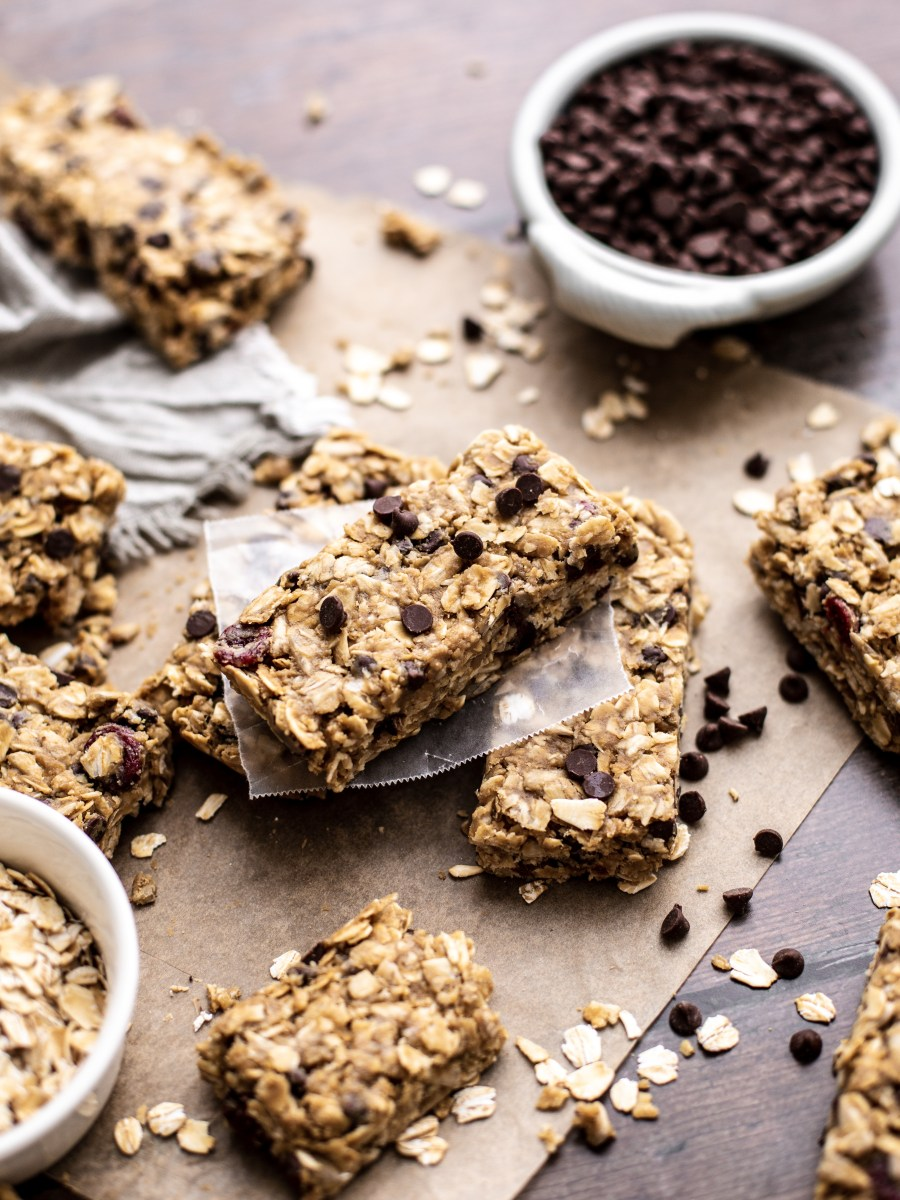 stack of chewy no bake granola bars