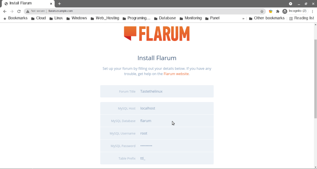 Install Flarum Centos 7