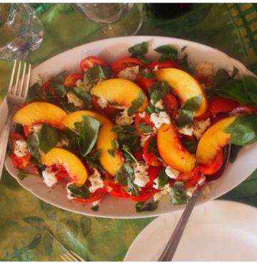 Peach, tomato, mozzarella and basil salad