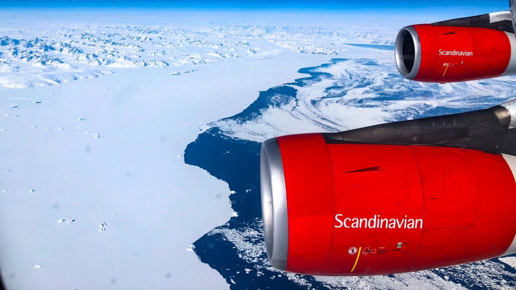 SAS Buisness Class på vej over Grønlands indlandsis