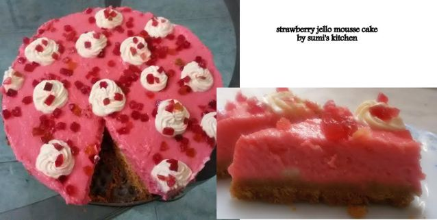 Strawberry jello mousse cake
