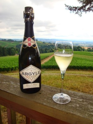 Argyle sparking wine overlooking Julia Lee vineyard block at Knudsen