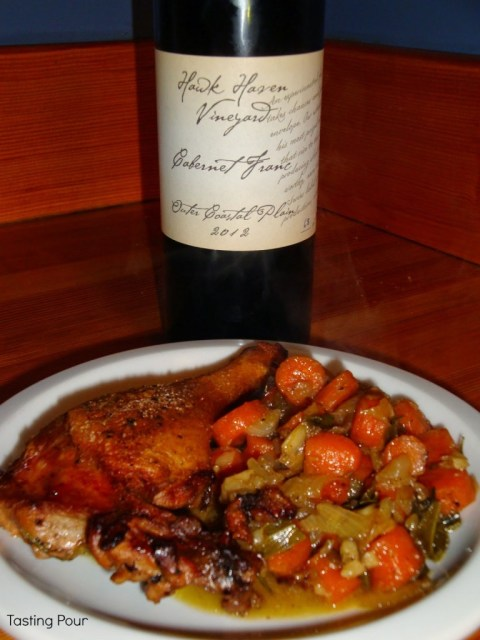 Hawk Haven Vineyards 2012 Cabernet Franc with Duck Legs and Root Vegetables