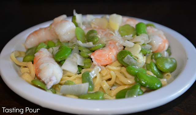 Pasta in Asiago Cheese Sauce with Shrimp, Fava Beans, Fennel