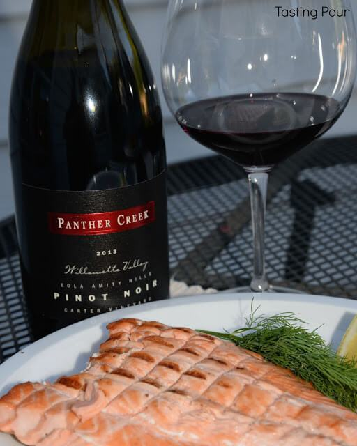 Panther Creek Cellars Carter Vineyard Pinot Noir and Salmon