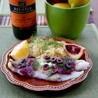 En Papillote Blood Orange, Olive, Fennel & Cod