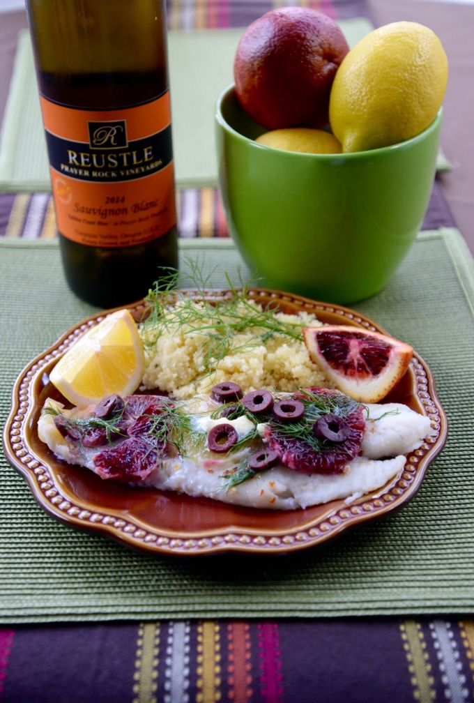 En Papillote Blood Orange, Olive, Fennel, Cod, Reustle Prayer Rock Sauvignon Blanc