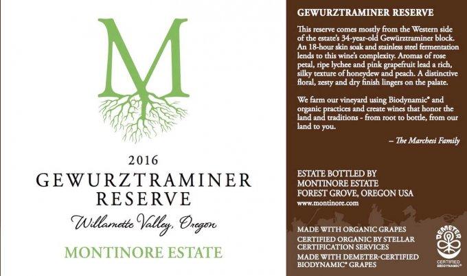 Montinore Estate 2016 Gewurztraminer Reserve
