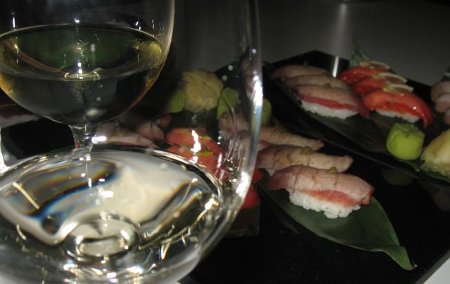 J Vineyards Pinot Gris and chardonnay with Coast sushi. By Mari Kane, www.tastingroomconfidential.com