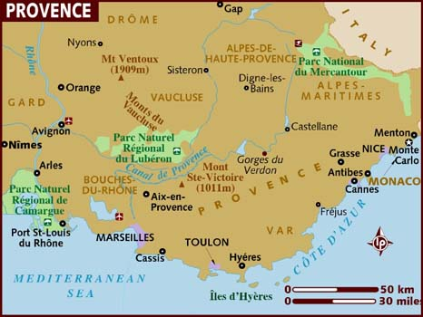 map of Provence
