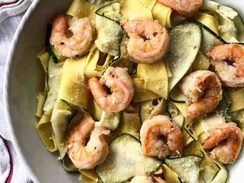 Pappardelle and Zucchini Ribbons with Shrimp