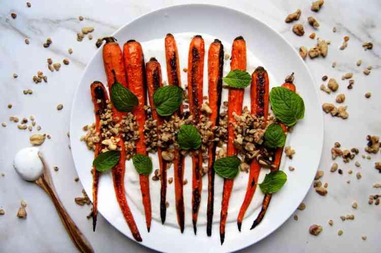 Roasted Carrots with Yogurt, Walnuts, and Mint