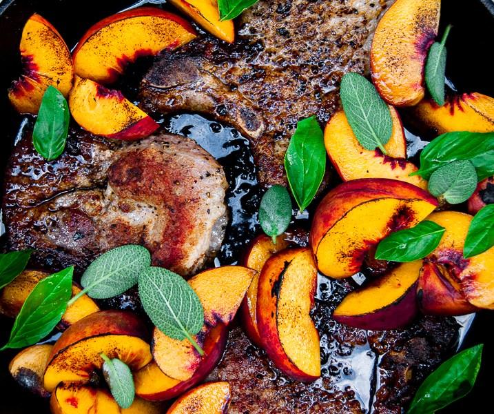 Easy Bourbon Balsamic Glazed Pork Chops and Peaches