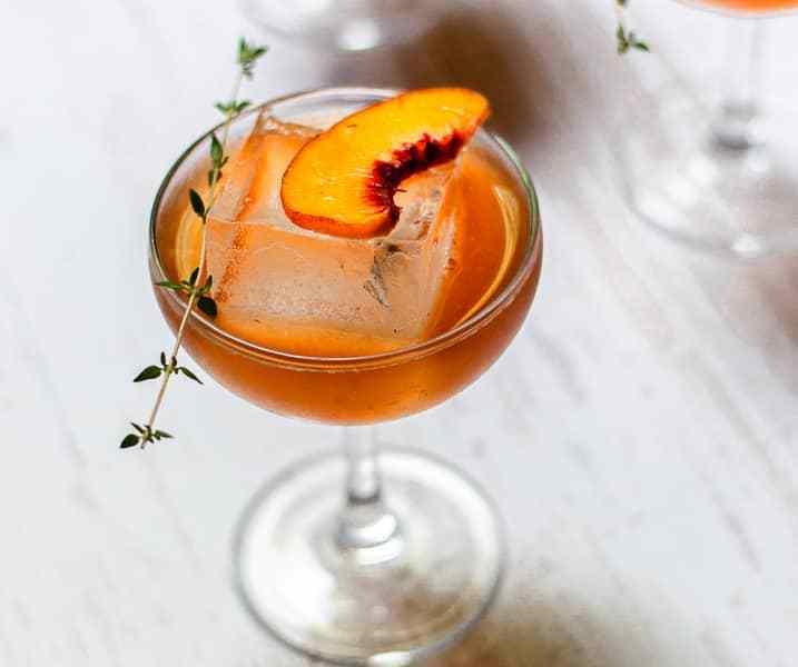 Bourbon and Thyme Peach Smash