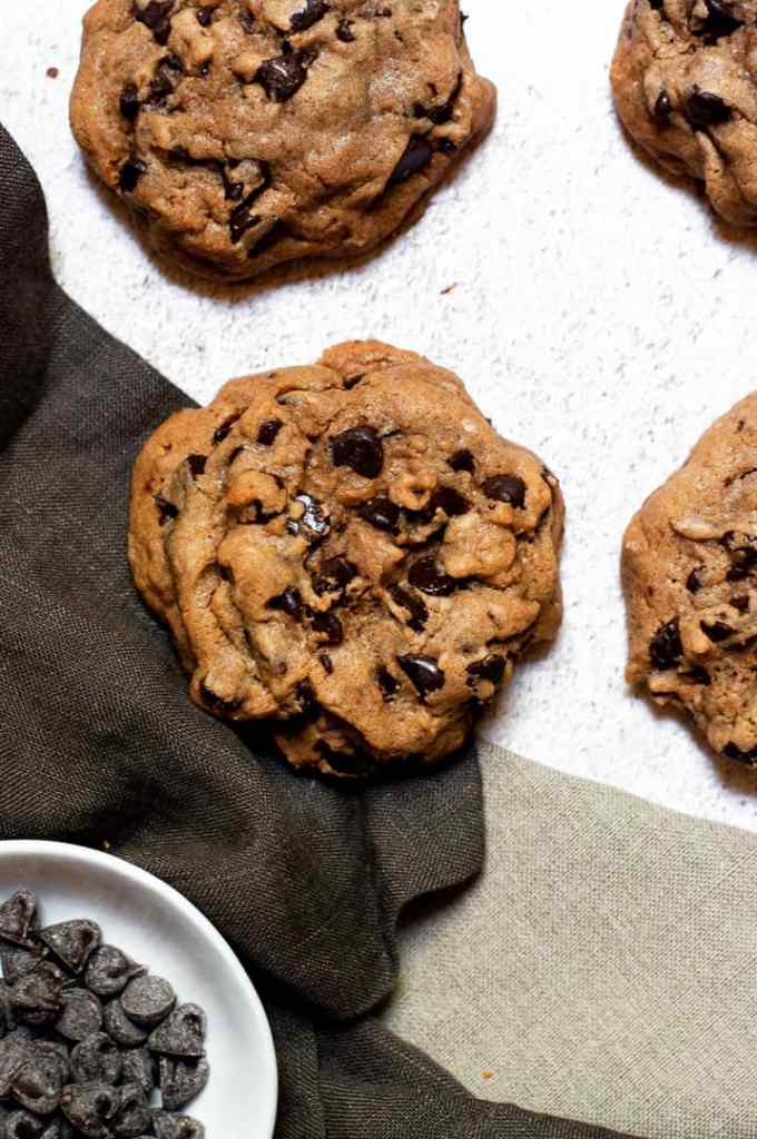 Four Bourbon Browned Butter Chocolate Chip Cookies
